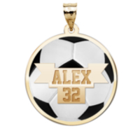 Color Enameled Soccer Pendant with Name   Number