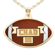 Color Enameled Football Pendant with Name & Number