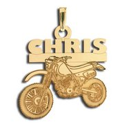 Custom Motorcross Bike Charm or Pendant w/ Name & Number