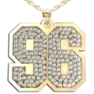 New  Jersey Hamerred Two Digit Number Pendant Paved with Diamonds