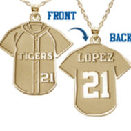 Baseball Jersey Charm or  Pendant w/ Name & Number