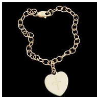 14K Yellow Gold Baby Bracelet W Heart And Cross