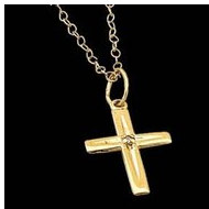 14K Yellow Gold Children s Cross W Diamond Pendant