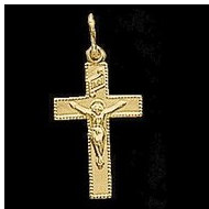14K Yellow Gold Child s Crucifix Pendant
