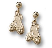 14K Yellow Gold Children s  Ballet Slippers  Post Earrings