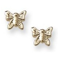 14K Yellow Gold Children s  Butterfly  Safety Back Earrings