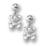 Sterling Silver Children s  Teddy Bear   Dangle  Earrings