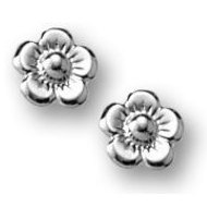 Sterling Silver Children s  Flower  Post Earrings