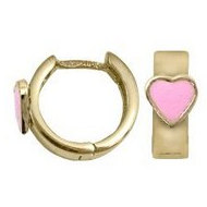 14K  Yellow Gold Children s  Heart  Huggie Earrings with Pink Enamel