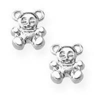 Sterling Silver Children s  Teddy Bear  Post Earrings