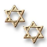 14K Yellow Gold Children s  Star of David  Safety Back Earrings
