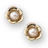 14K Yellow Gold Children s Floral with Cultured Pearl Stud Earrings