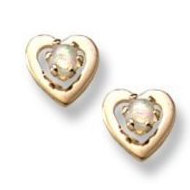 14K Yellow Gold Child s Genuine   Opal Heart  Safety Back Earrings