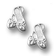 Sterling Silver Children s  Ballet Slippers  Post Earrings