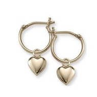 14K  Yellow Gold Children s Hoops with Dangling  Hearts Earrings