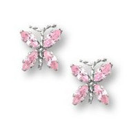 Sterling Silver Children s  Butterfly  Post Earrings w  Pink CZ