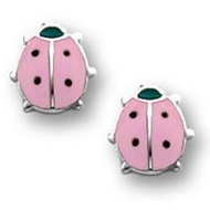 Sterling Silver Children s  LadyBug  Enamel Post Earrings