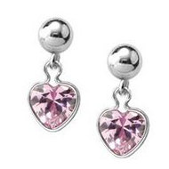 Sterling Silver Children s Heart Drop Earrings w  Pink Cubic Zirconia