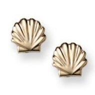14K Yellow Gold Children s  Shell  Safety Back Earrings
