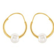 14K Yellow Gold Children s Hoop Earring W Pearl