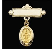 14K Yellow Gold Miraculous Baptismal Pin