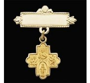 14K Yellow Gold 4 Way Baptismal Pin