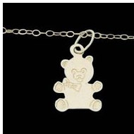 14K Yellow Gold Child Teddy Bear Pendant W Chain