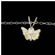 14K Yellow Gold Child Butterfly Pendant W CZ And Chain