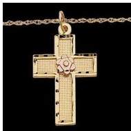 14K Yellow Gold Child Cross W Rose Gold Flower W 16 Chain