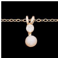 14K Yellow Gold Children s Button pendant W Chain