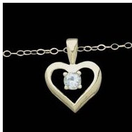 14K Yellow Gold Child Heart Pendant W CZ And Chain