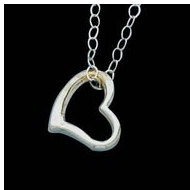 14K White Child Heart Pendant W/Chain