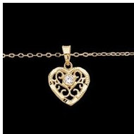 14K Yellow Gold FILAGREE HEART W CZ And 15  Chain