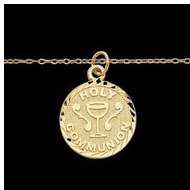 "14K Yellow Gold Child Holy Communion Pendant W/15""Chain"