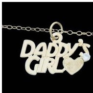 14K Yelow Gold Child DAD D GIRL Pendant W CZ and Chain