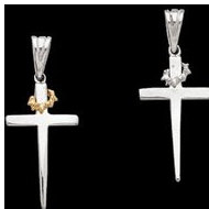 Sterling Silver Teen Cross W Thorns Pendant