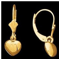 14K Yellow Gold Teen LeverBack Heart Earring