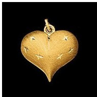 14K Yellow Gold Teen Puffed Heart Pendant