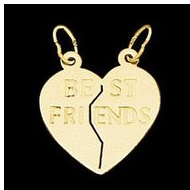 14K Yellow Gold Teen  Best Friends Heart Pendant