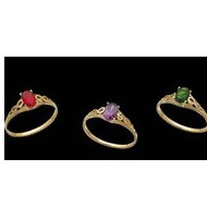 14K Yellow Gold Teen Imitation   BIRTHSTONE   Rings