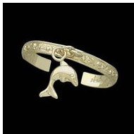 14K Yellow Gold Teen Etched Dolphin Toe Ring
