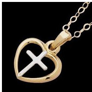 14K Yellow Gold Teen Heart W Cross Pendant W Chain