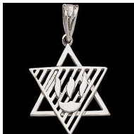 Sterling Silver Teen Ribbed Star Of David Pendant