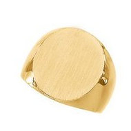 14K Gold Gents Solid Signet Ring W Brush Finished Top