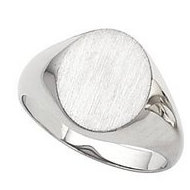 14K Gold Gents Hollow Signet Ring W Brush Finished Top