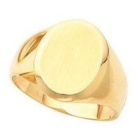14K Gold Gents Solid Signet Mounting Ring W Brush Finished Top