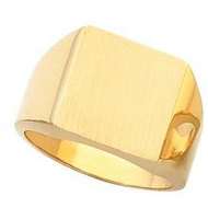 14K Gold Gents Signet Ring W/Brush Finished Top