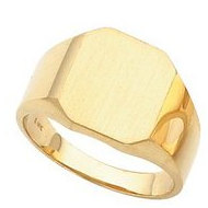 14K Gold Gents Ring W Brush Finished Top