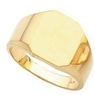 14K Gold Gents Octagon Signet Ring W Brush Finished Top