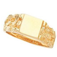 14K Gold Gents Signet Ring W/ Brush Finished
